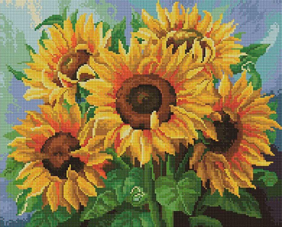 Алмазная мозаика Painting Diamond Букет подсолнухов, 40х50см букет солнечный привет 19 27 или 35 подсолнухов