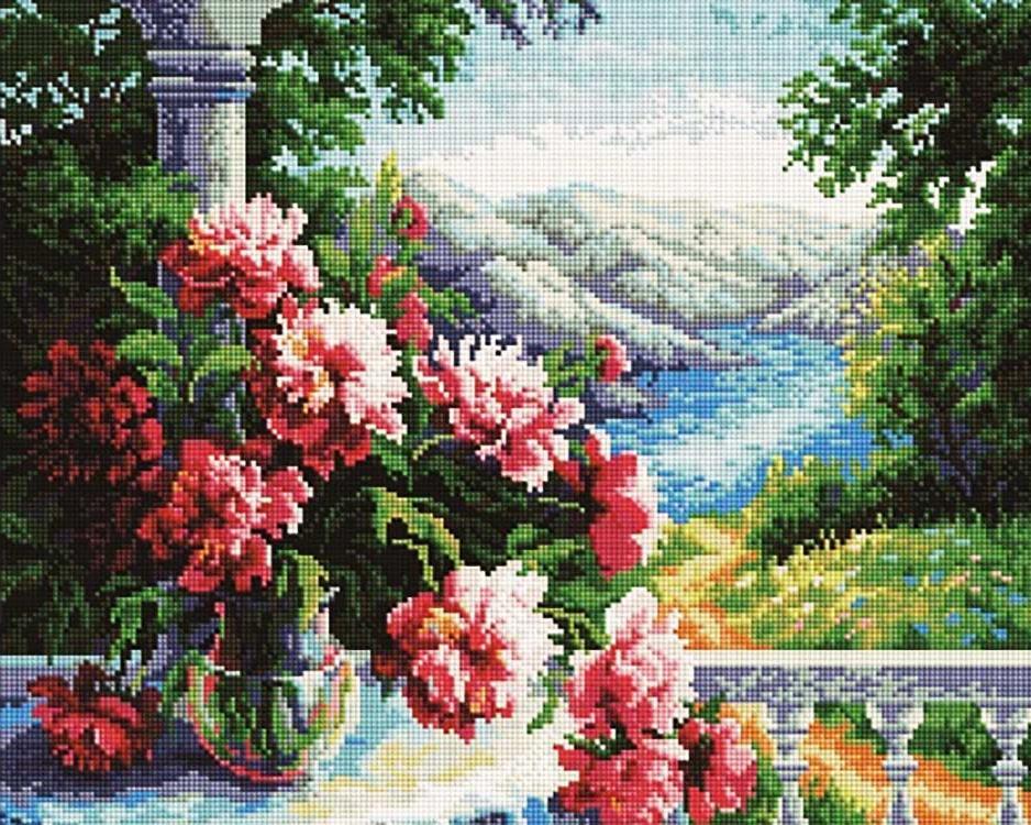 Алмазная мозаика Painting Diamond Букет пионов, 40х50см diamond painting 2015 3d diy mzc 15