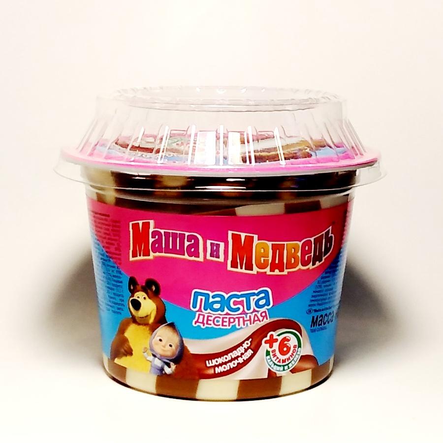 """Паста десертная Славянка шоколадно-молочная """"Маша и Медведь"""", в пластиковом стаканчике, 220 грамм."""