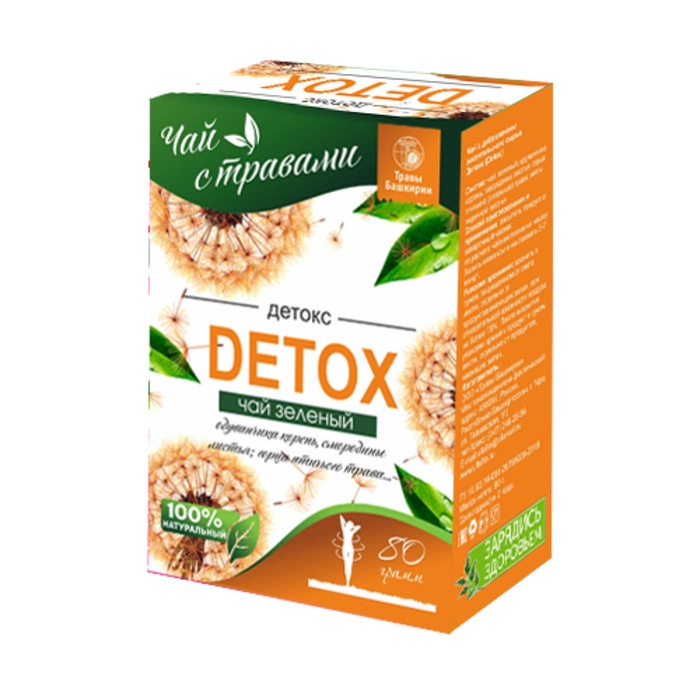 Чай с добавлением растительного сырья Травы Башкирии Детокс (Detox) - для Очищения Организма и Похудения Мятой 80гр