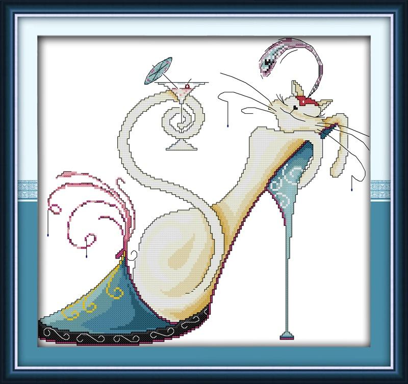 Набор для вышивания NKF Fashion high heels and a cat -2