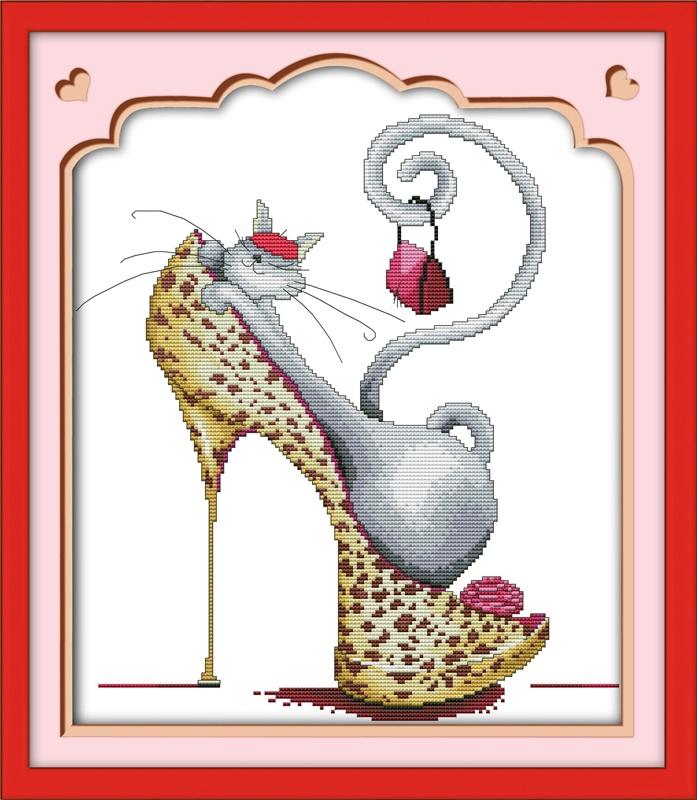Набор для вышивания NKF Fashion high heels and a cat -1