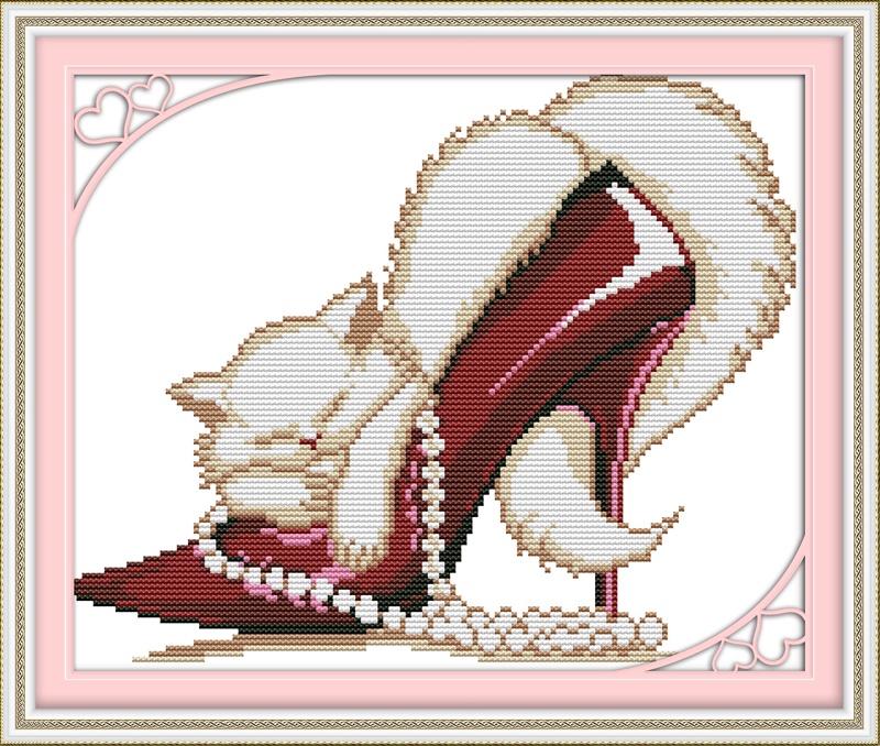 Набор для вышивания NKF Fashion high heels and a cat -3