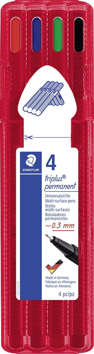 Набор перманентных ручек Staedtler Triplus Permanent, 0,3 мм, 4 цвета staedtler набор фломастеров triplus сolor 32 цвета трехгранные яркие цвета