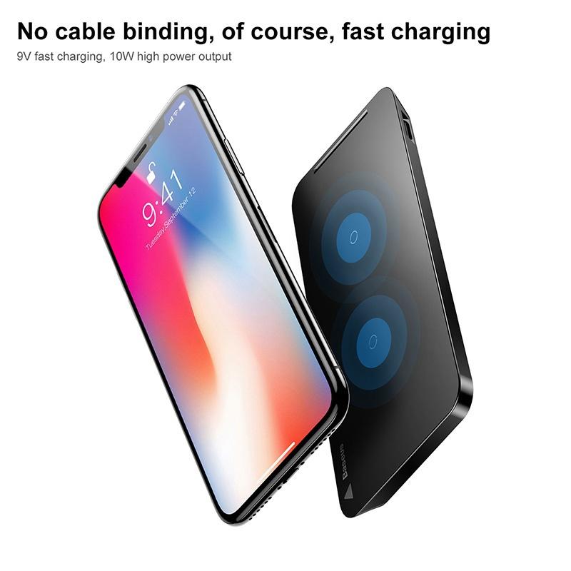 Зарядное устройство для док-станции Baseus Qi для IPhone X 8 Samsung Note 8 S8 Plus S7 S6 Edge Phone Быстрая беспроводная зарядка