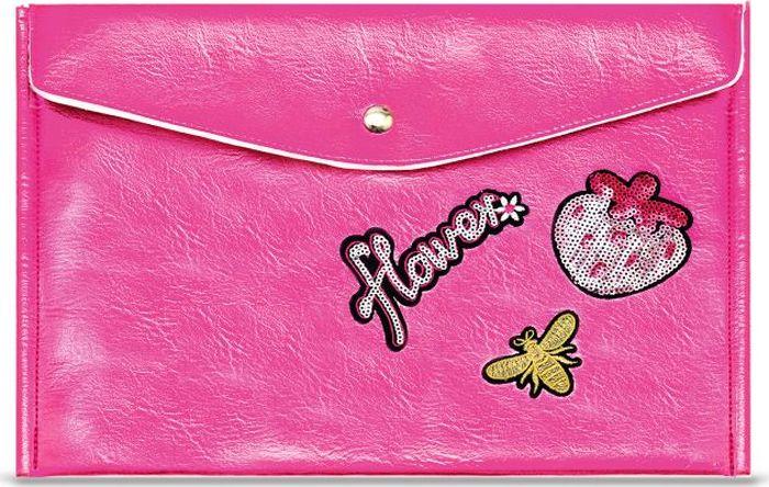 Папка для документов Феникс+, А4, на кнопке, розовый