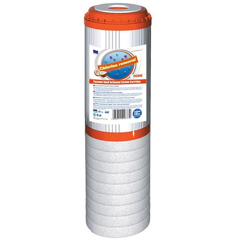 Картридж угольный, комбинированный 10SL (гранулированный активированный уголь из скорлупы кокосовых орехов, вспененный полипропилен) Aquafilter FCCBHD-STO, 663