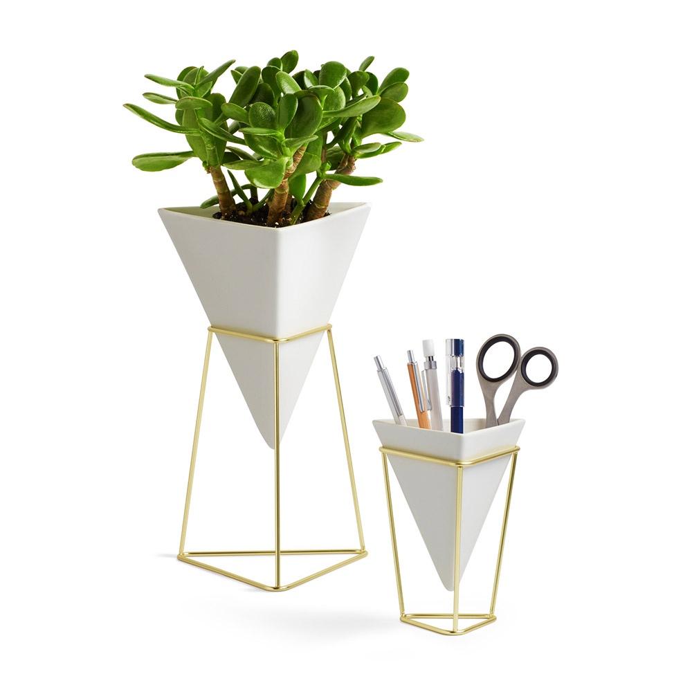 Декор настольный Umbra Trigg белый-латунь кашпо для растений umbra кашпо для растений