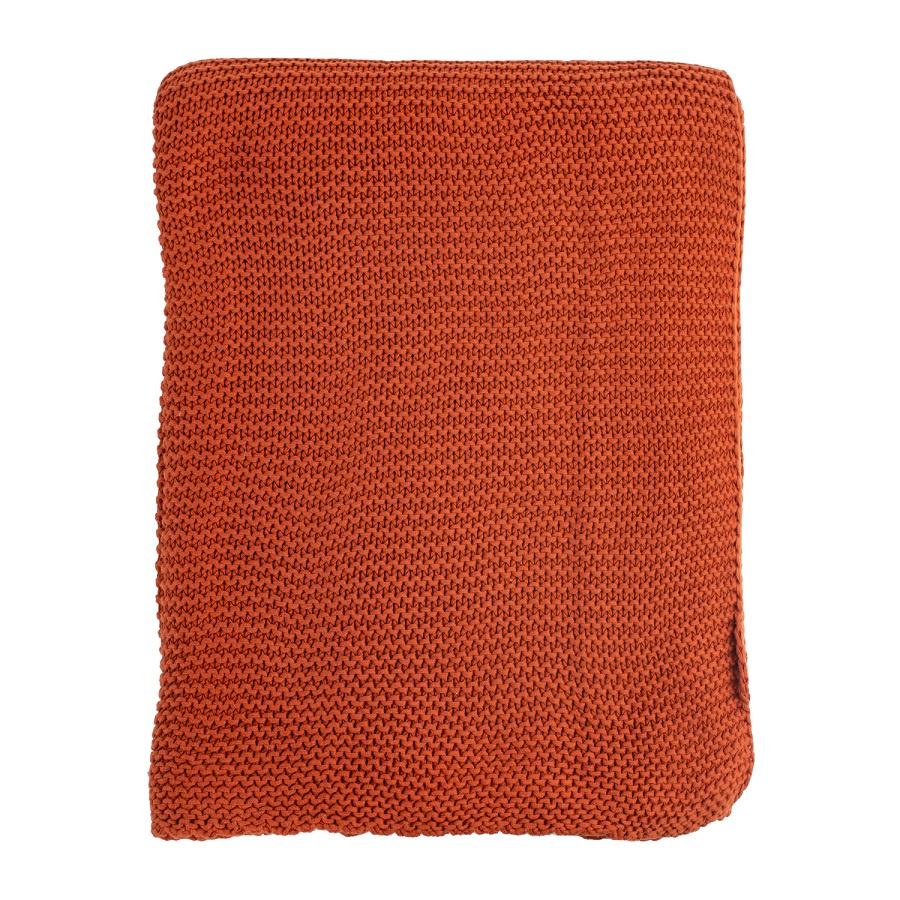 Плед Tkano Essential жемчужной вязки 220х180, терракотовый