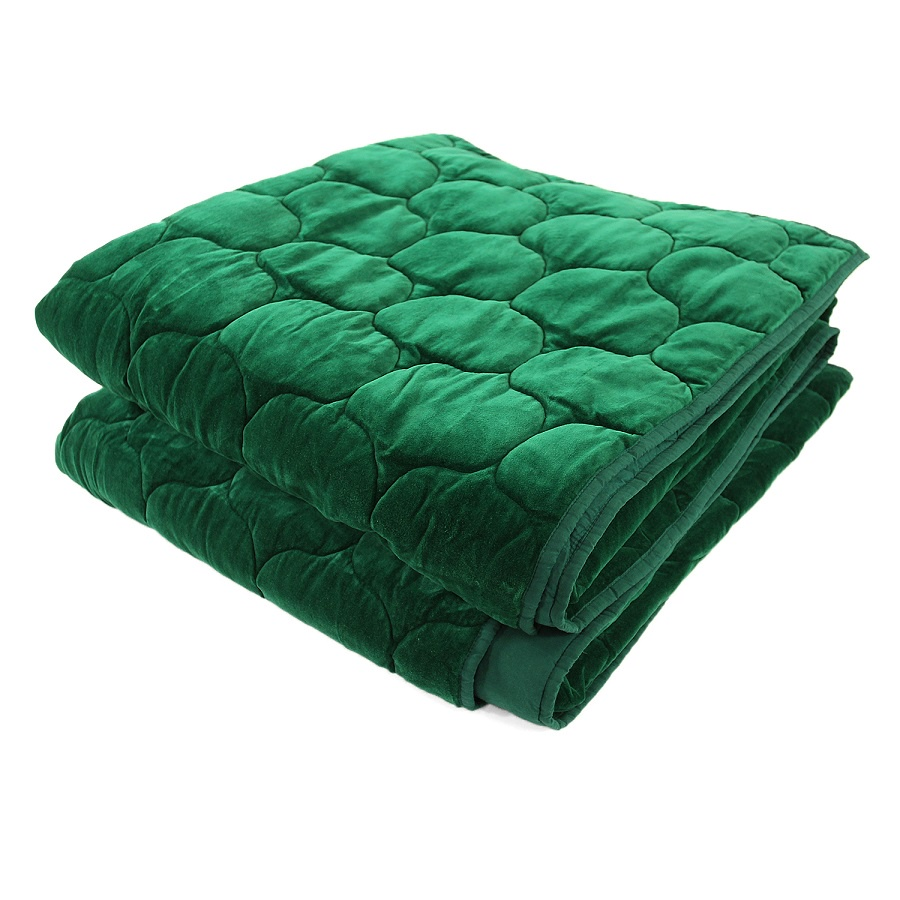 Покрывало Tkano стеганое бархатное 230х250 зеленый