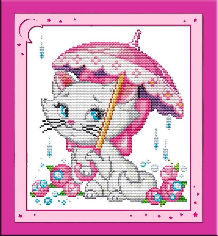 Набор для вышивания NKF A cat in the rain
