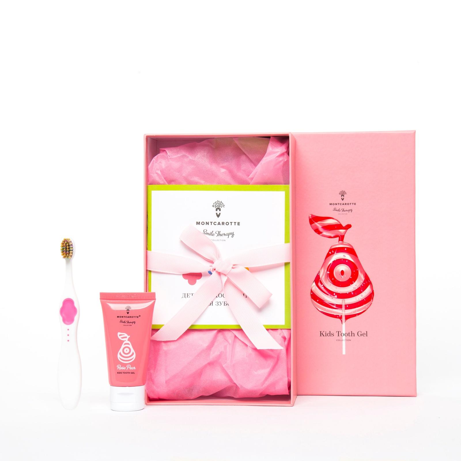 Набор детский подарочный Розовая груша 2 ед: Детский зубной гель Розовая Груша+Детская Зубная щетка Розовая