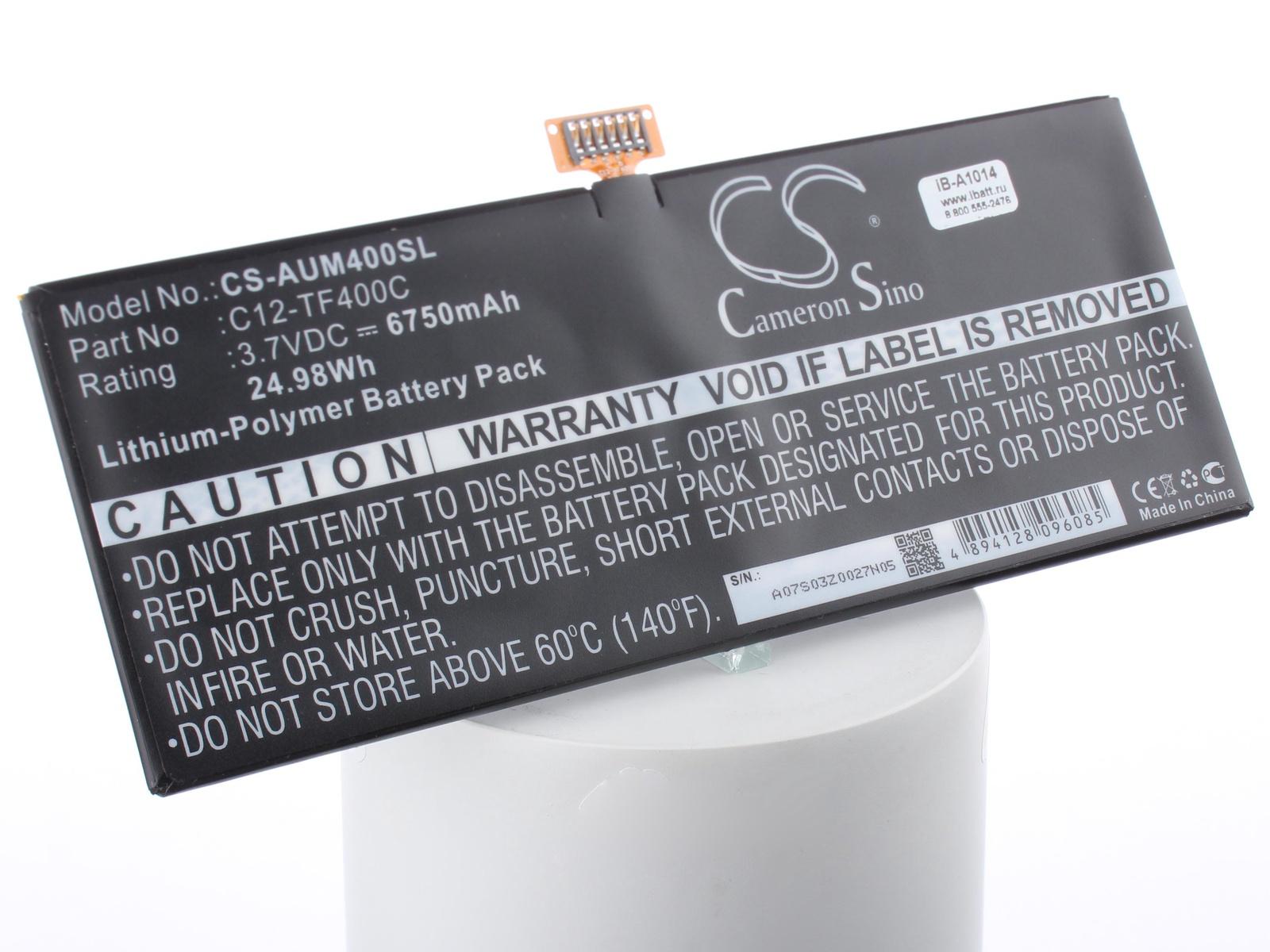 Аккумуляторная батарея iBatt iB-A1-A1014 6750mAh для ноутбуков Asus C12-TF400C, iB-A1014,