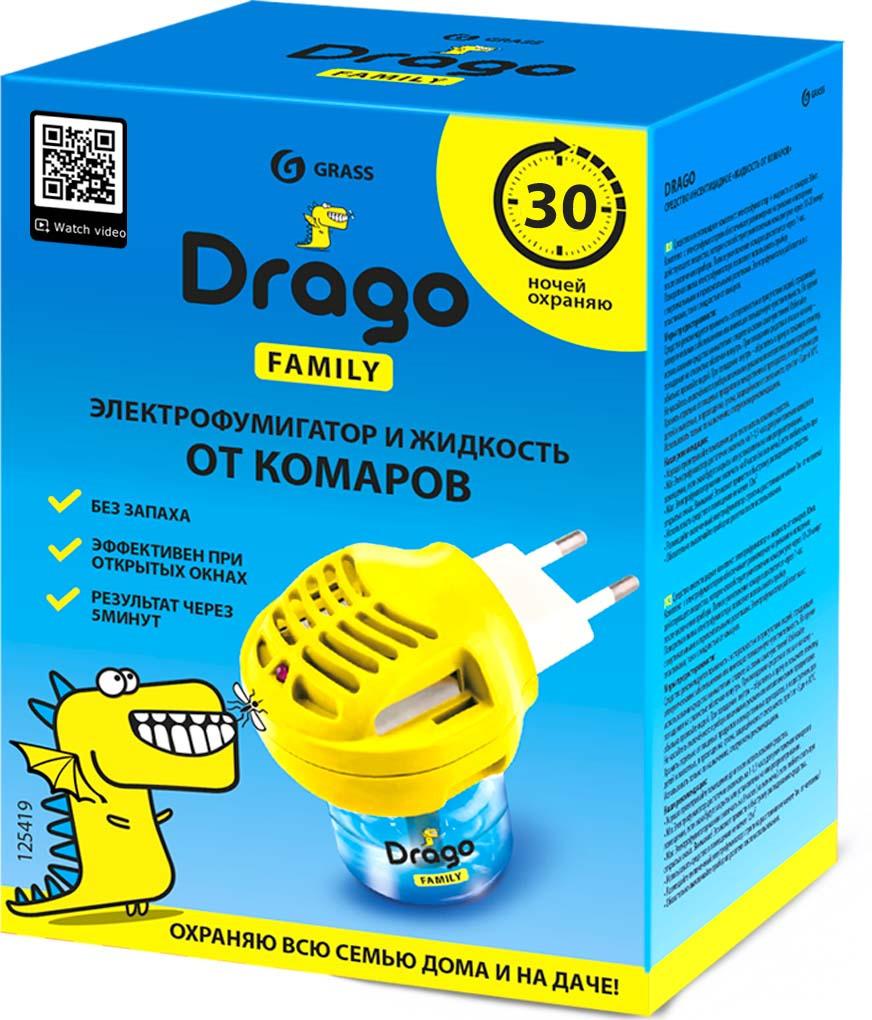 Фумигатор Drago, с жидкостью от комаров, 30 мл рейд электрофумигатор пластины от комаров 10шт