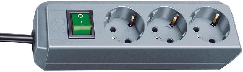 1152340015 Brennenstuhl удлинитель ECO-Line, 1,5 м., 3 розетки, выключатель, темно-серый