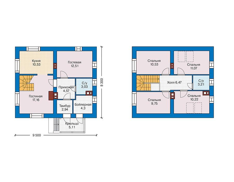 Проект дома Plans-45-08 (106 кв. м, кирпич) Plans.ru
