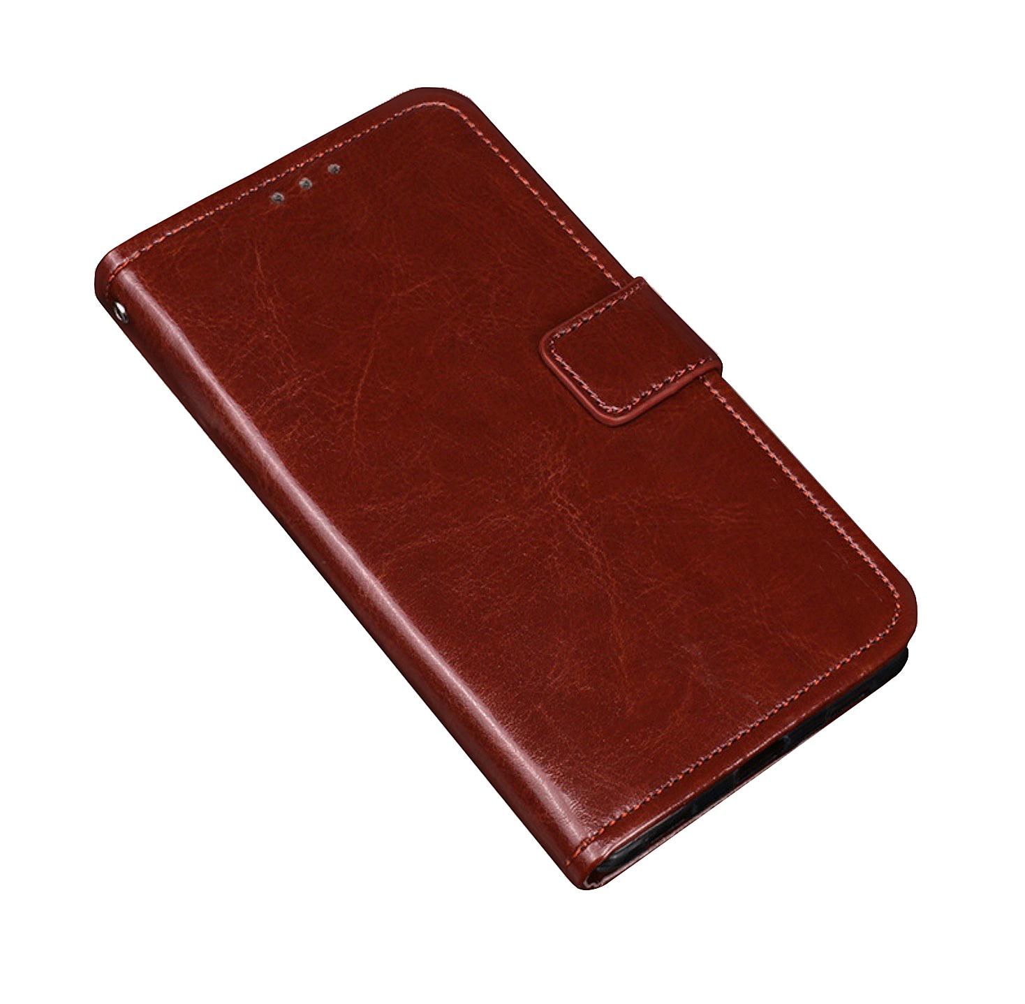 Фирменный чехол-книжка из качественной импортной кожи с мульти-подставкой застёжкой и визитницей для Highscreen Power Five коричневый MyPads