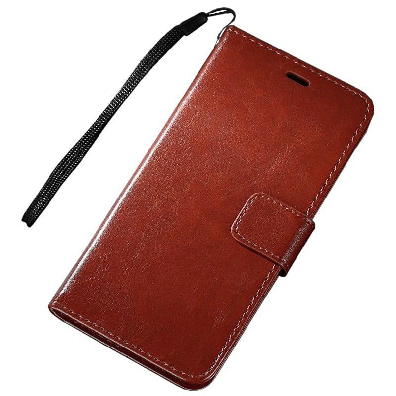 Фирменный чехол-книжка из качественной импортной кожи с мульти-подставкой застёжкой и визитницей для Samsung Galaxy J2 Core SM-J260F коричневый MyPads
