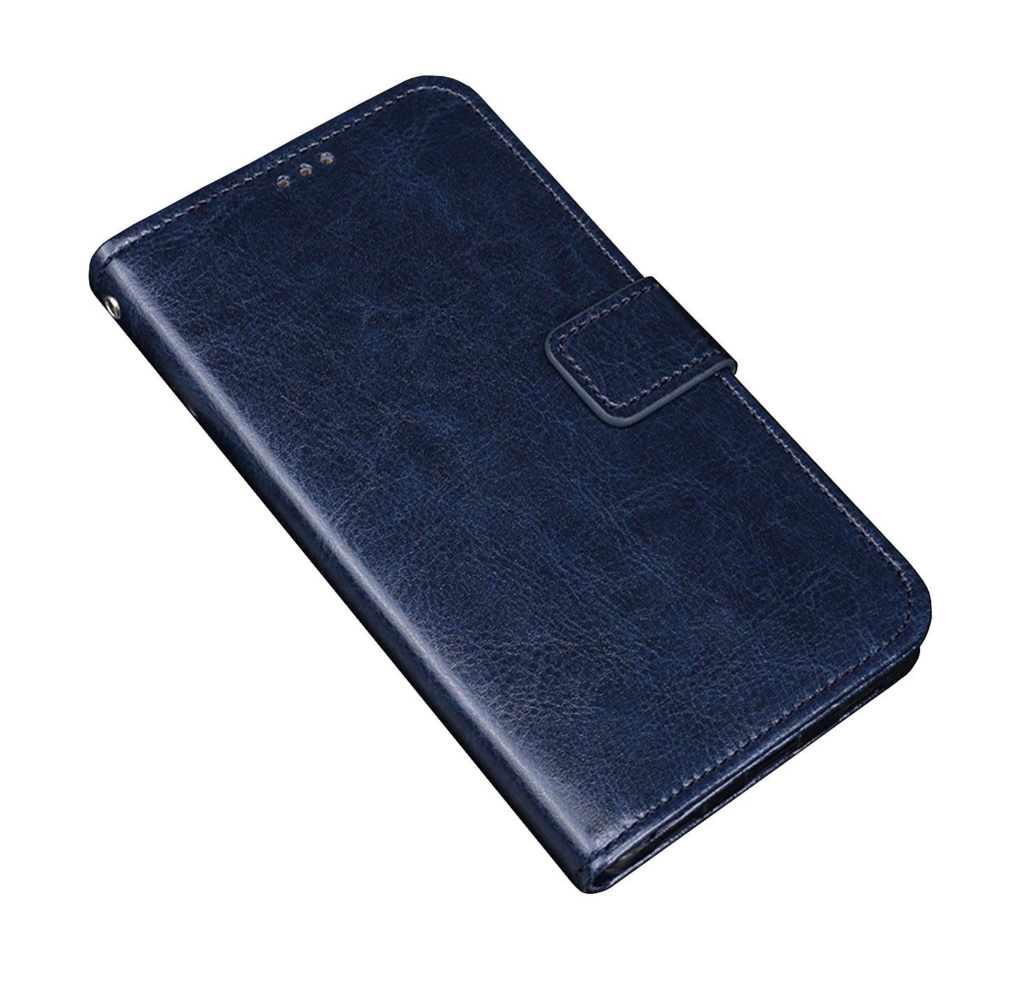 Фирменный чехол-книжка из качественной импортной кожи с мульти-подставкой застёжкой и визитницей для Alcatel 5V 5060D синий MyPads