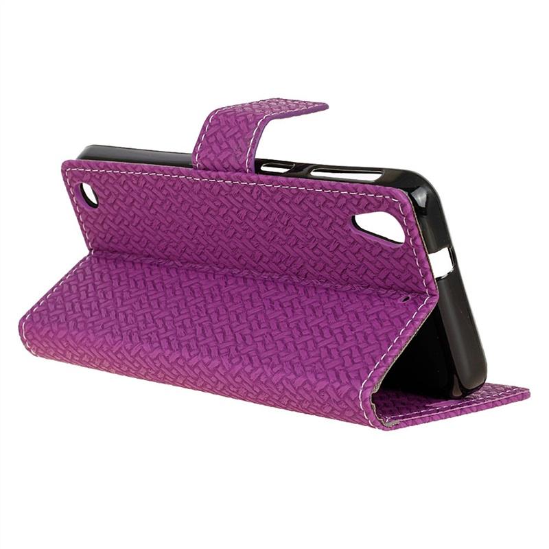 Moonmini для HTC Desire 530 630 Тканый узор PU Кожаный чехол с флип Стойка для крышки Кошелек для карт с держателем фото и магнитным закрытием (фиолетовый) (8060)