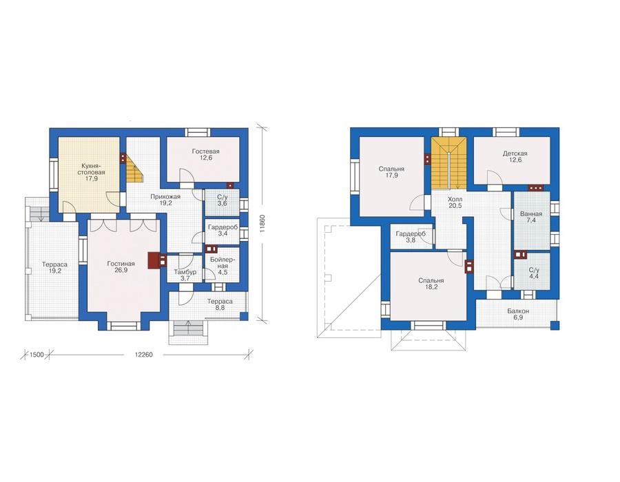 Проект дома Plans-55-26 (177 кв. м, газобетон 400мм) Plans.ru