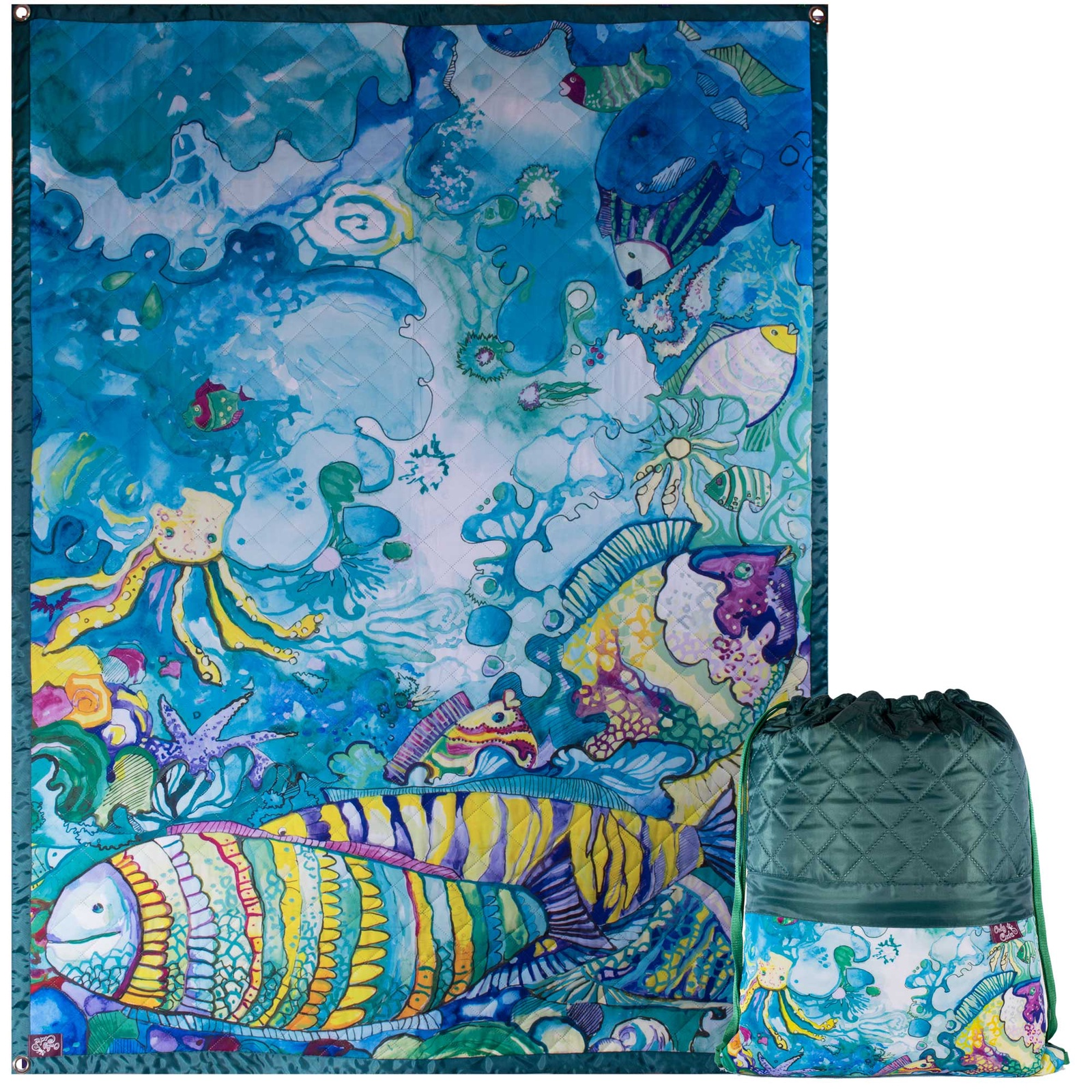 Коврик в рюкзаке OnlyCute Океанариум зеленый