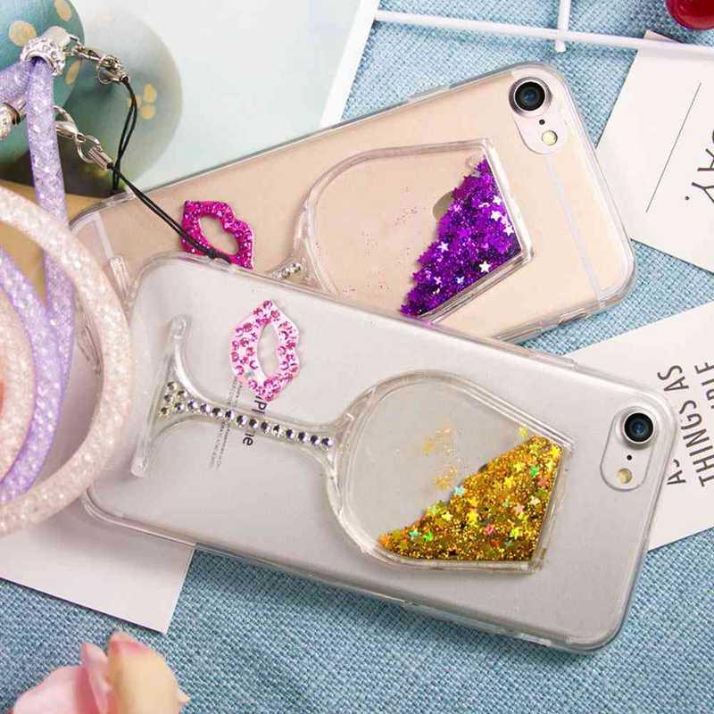 все цены на 3D Жидкий Quicksand Bling Винный стеклянный телефон для XiaoMi RedMi 4X iPhone 8 7 6S Plus Samsung S8 онлайн