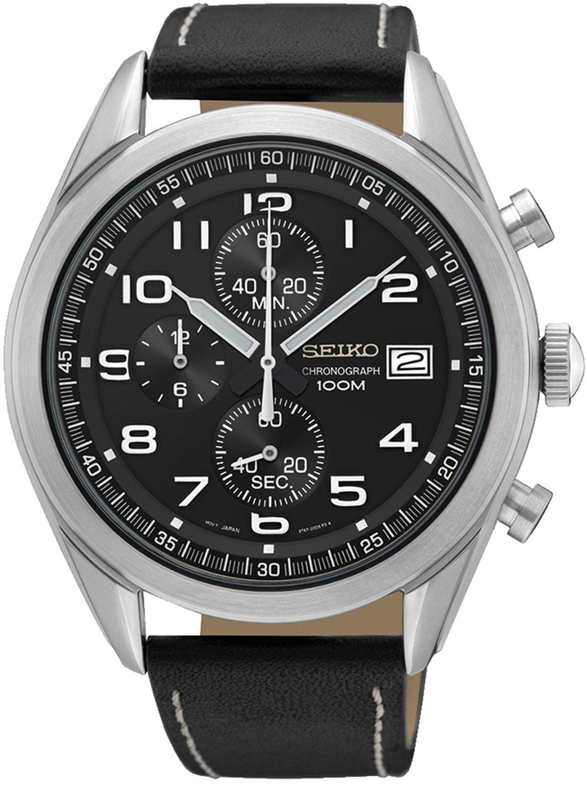 купить Наручные часы Seiko мужские, черный по цене 20350 рублей