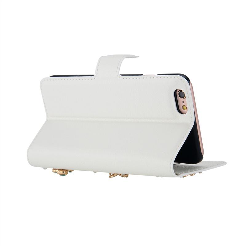 Защитный чехол -книжка из кожи ПУ  с магнитным замком,отделом для карт от Moonmini для Asus ZenFone 3 Laser ZC551KL 5,5-дюйм (бабочки с горным хрусталем) (8408)