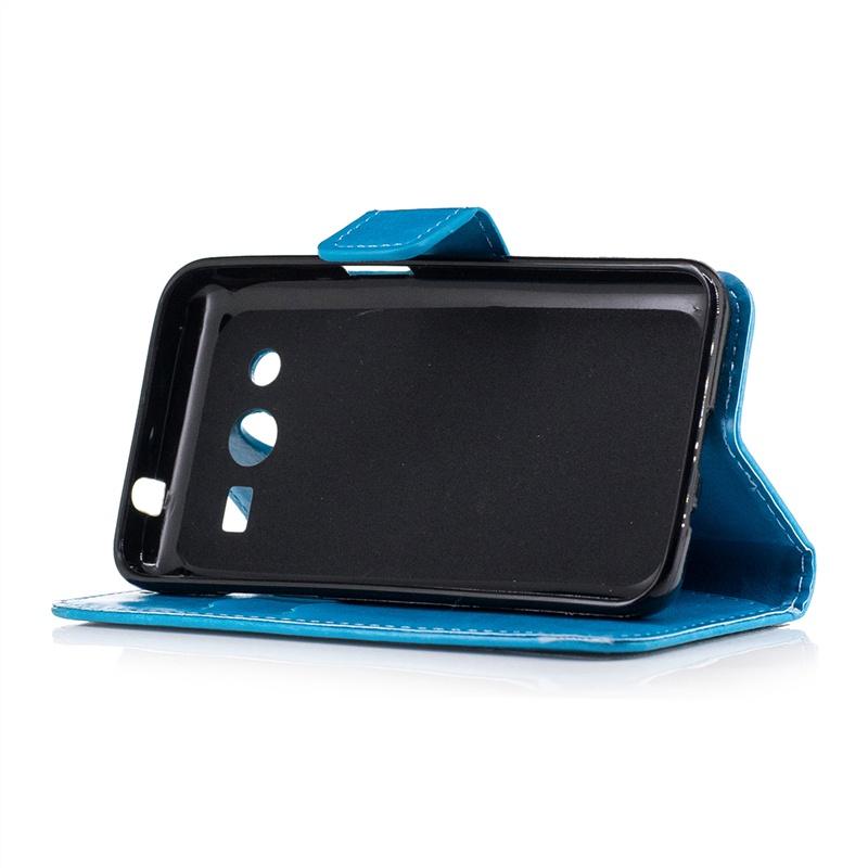 Синий чехол для Samsung Galaxy Core 2 G355 с флип-функцией, отделением для карт, магнитным закрытием и ремешком