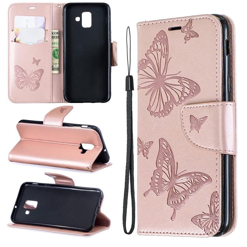 Для Samsung Galaxy A6 2018 / A6 Plus 2018 Чехол с тиснением Butterfly Filp Стенд PU кожаный бумажник с дизайном слота для карт бумажник disney ap2071 07 pu ap2071 07