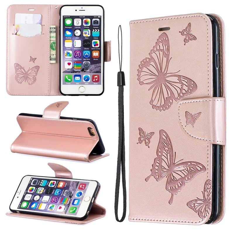Для iPhone 6 6 Plus Чехол с тиснением Бабочка Filp Стенд PU кожаный бумажник с дизайном слот для карты Для iPhone 6S 6S Plus бумажник disney ap2071 07 pu ap2071 07