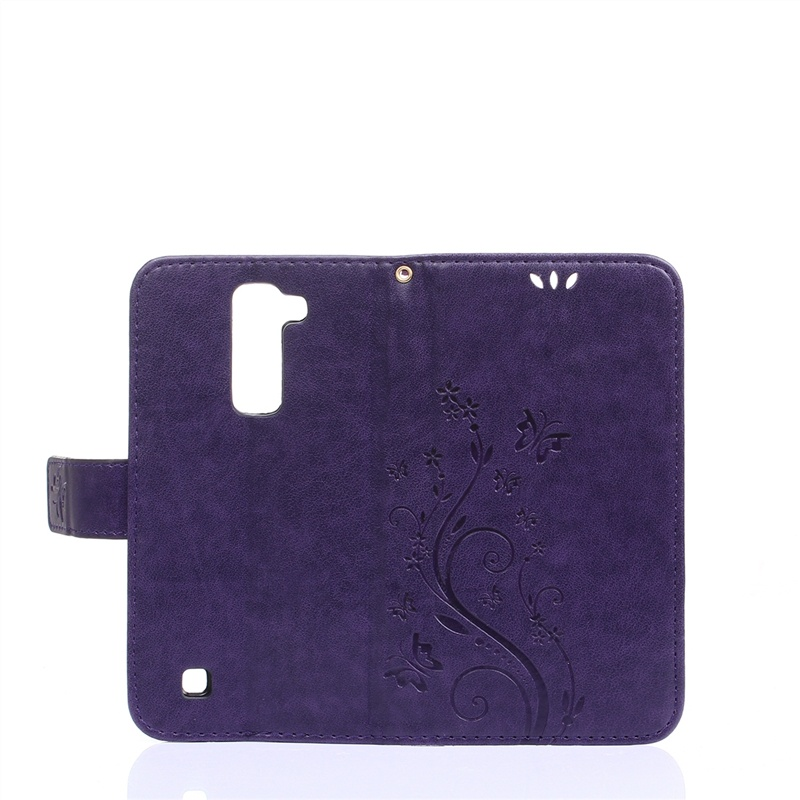 Moonmini для LG K7 Цветочная бабочка Pattern PU Кожаный чехол Флип Стенд Обложка Кошелек карты Слоты с магнитным закрытием (фиолетовый)
