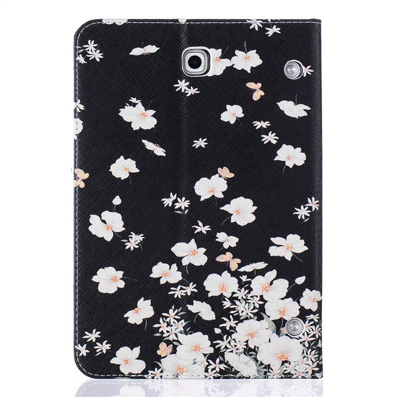 Кожаный чехол-подставка с магнитной застежкой, принтом цветочки и отделениями для карт для Samsung Galaxy Tab S2 8.0 SM-T715 PU MOONMINI