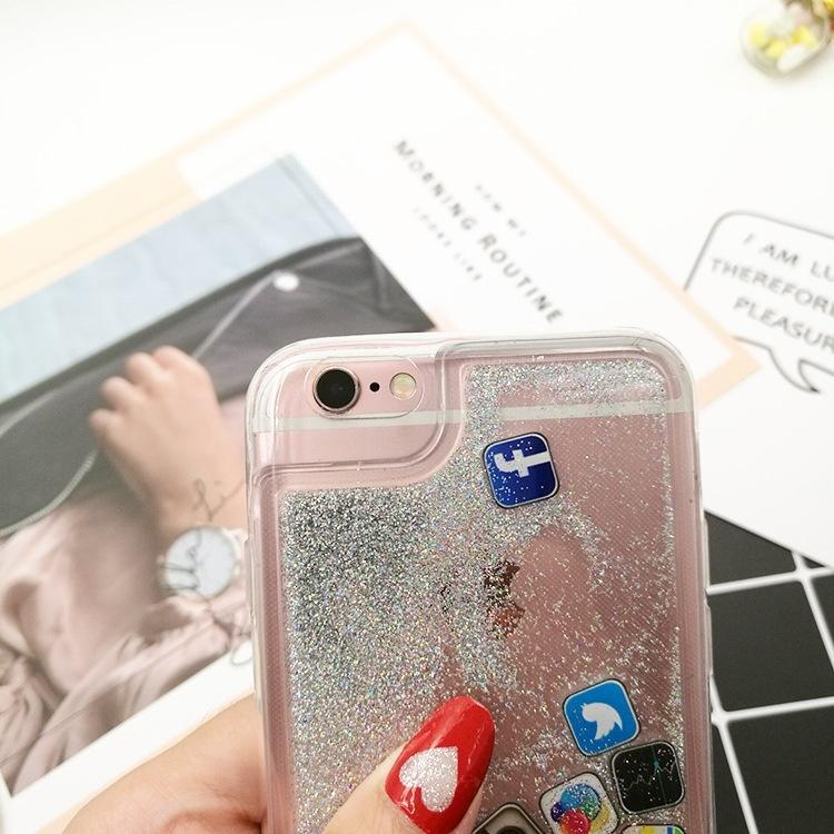 Творческий значок Cute Glitter Quicksand Bling Phone Case Dynamic Liquid Quicksand Hard Back Мягкие края Чехлы для IPhone 6 / 6S / 6Plus / 6s Plus / 7 / 7Plus / 8 / 8Plus / x Аксессуары для случая чехлы накладки для телефонов кпк phone shell iphone6 iphone5s 6plus 4s