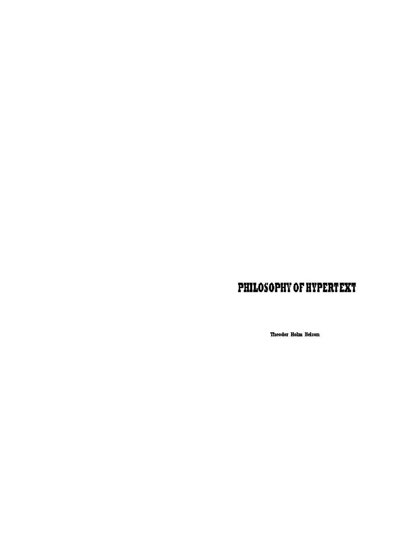 Philosophy of Hypertext