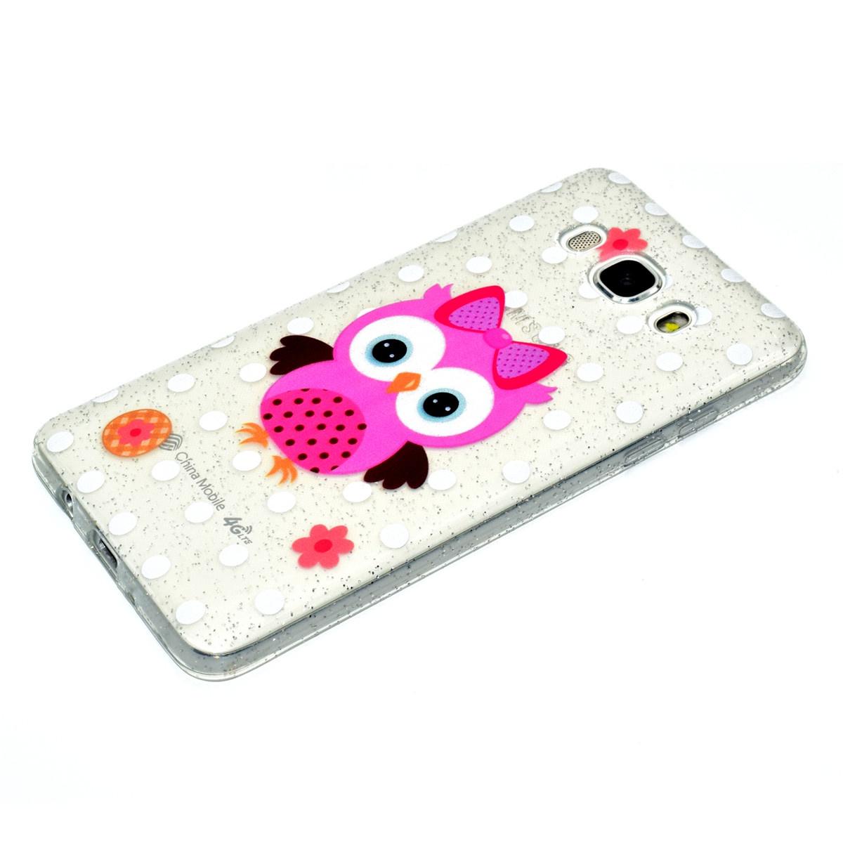 Для Samsung Galaxy J3 J310 Tpu Прекрасный мультфильм с надписью Glitter Tpu Phone Case Anti-scratch Противоударный протектор задней крышки (цветок Сова) (2402)