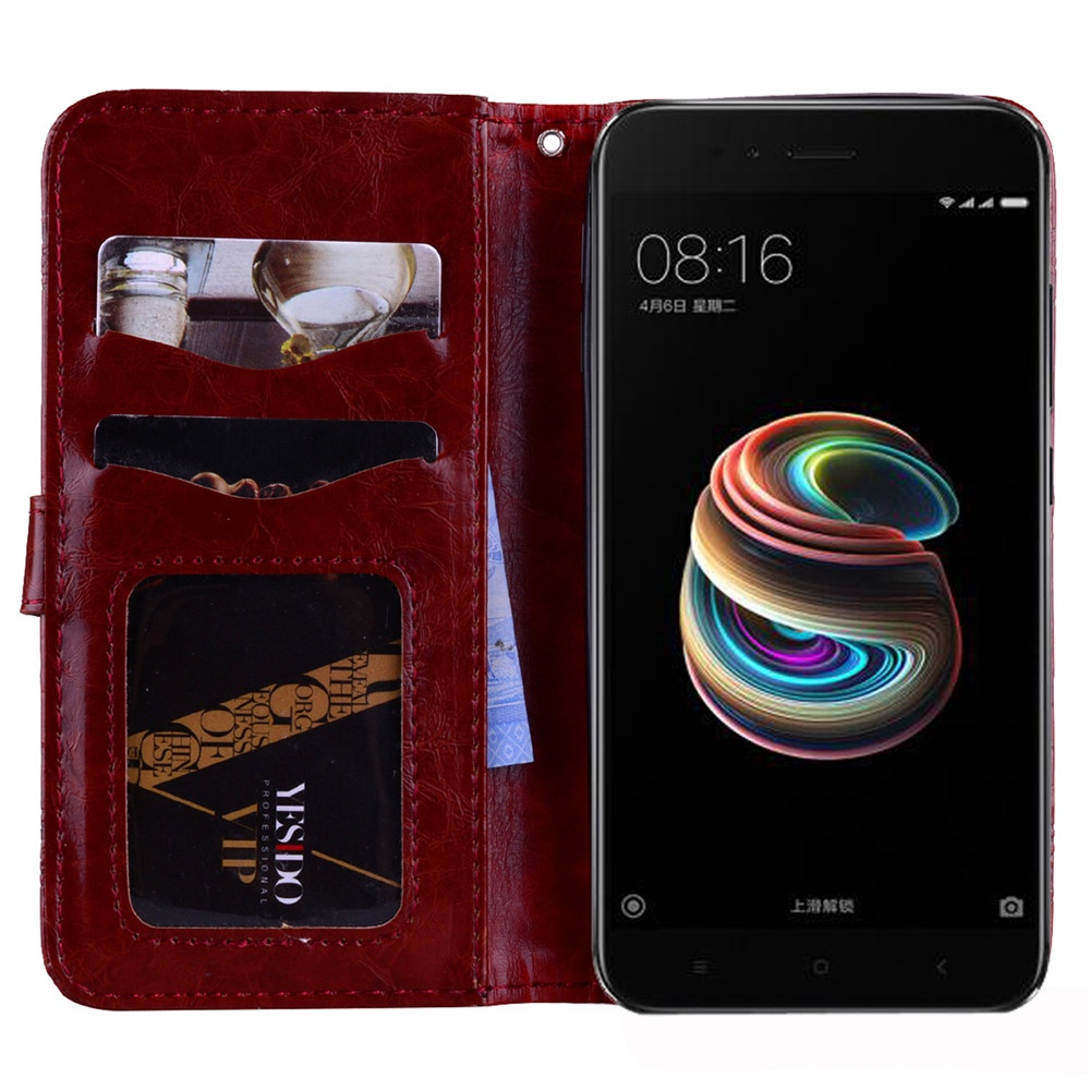 For Xiaomi Mi 5x / Mi A1 Pu Leather Case Flip Stand Cover Wallet Card Slots With Magnetic Closure And Lanyard 100% genuine real crocodile skin leather bank card holder drive license case and wallet free shipment