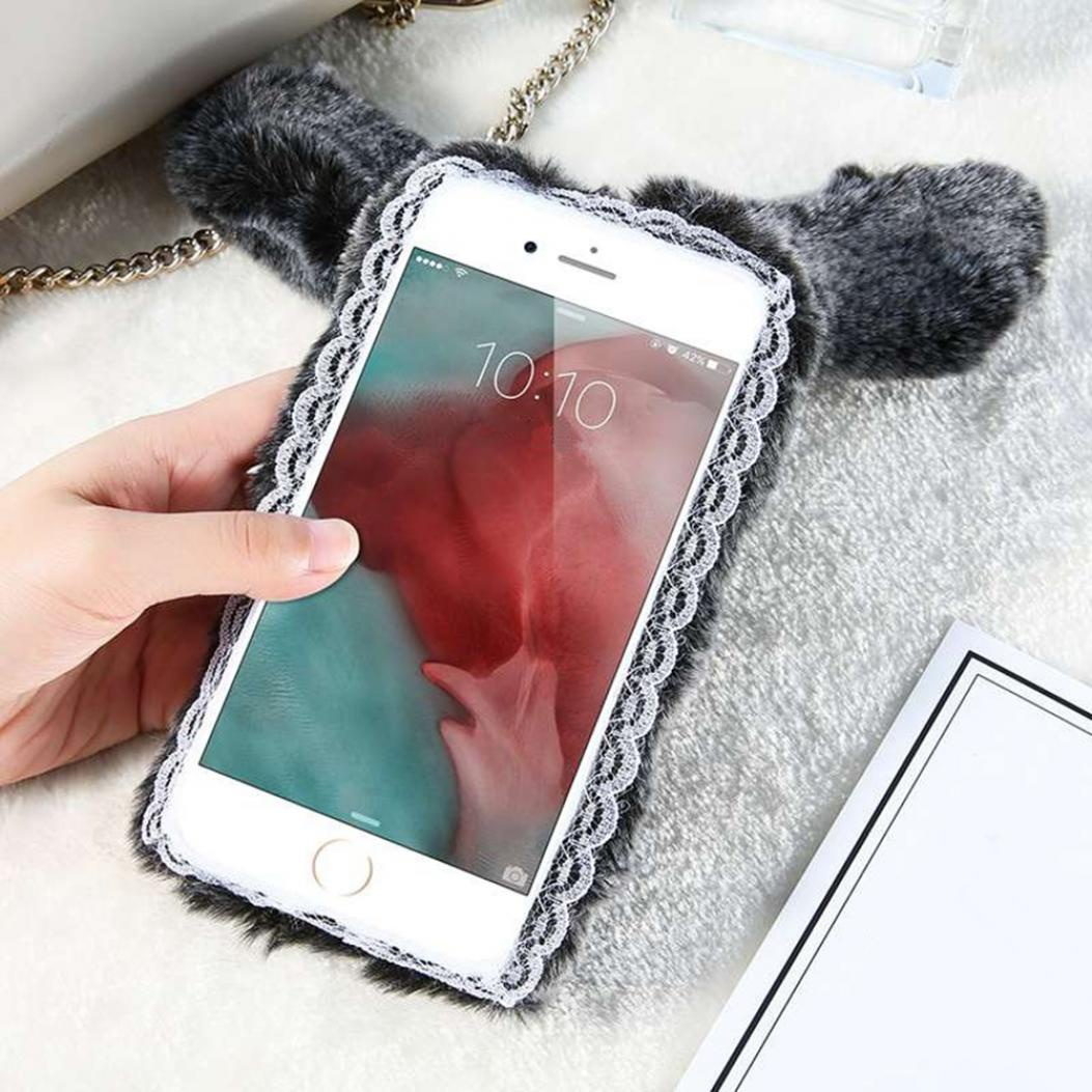 Защитный чехол из искусственного меха (для iPhone X 5 6 6S 7 8 Plus) vintage faux crystal rhinestone tassel earrings