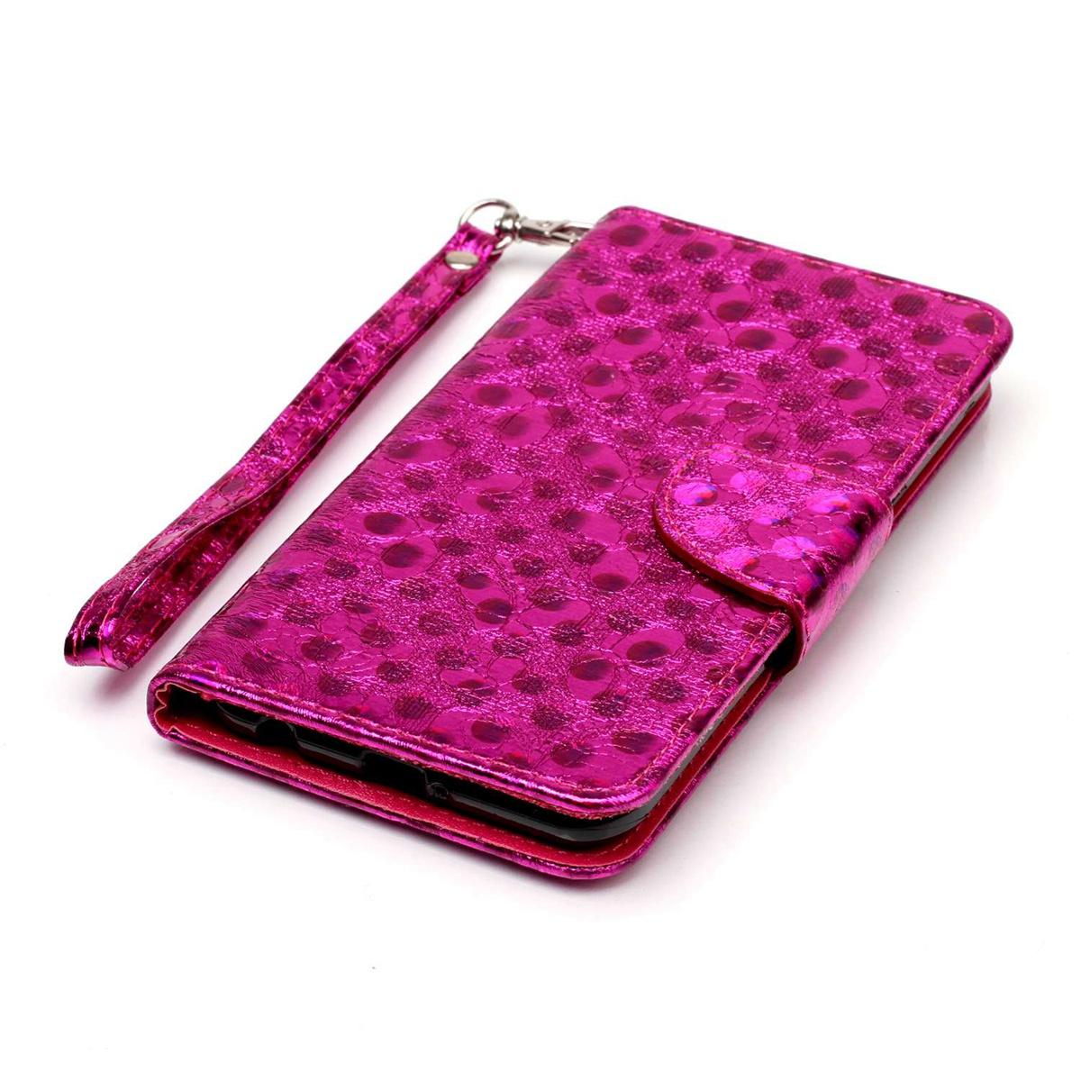 Для Lg X Power Laser Butterfly Premium Pu Кожаный чехол с флип-картой Держатель карты с ремешком (горячий розовый)