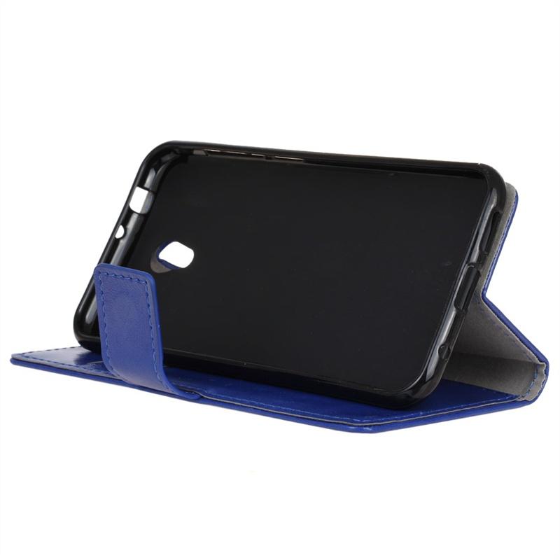 Кожаный чехол синего цвета, с флип-функцией, слотами для карт и магнитной застежкой для Alcatel U5