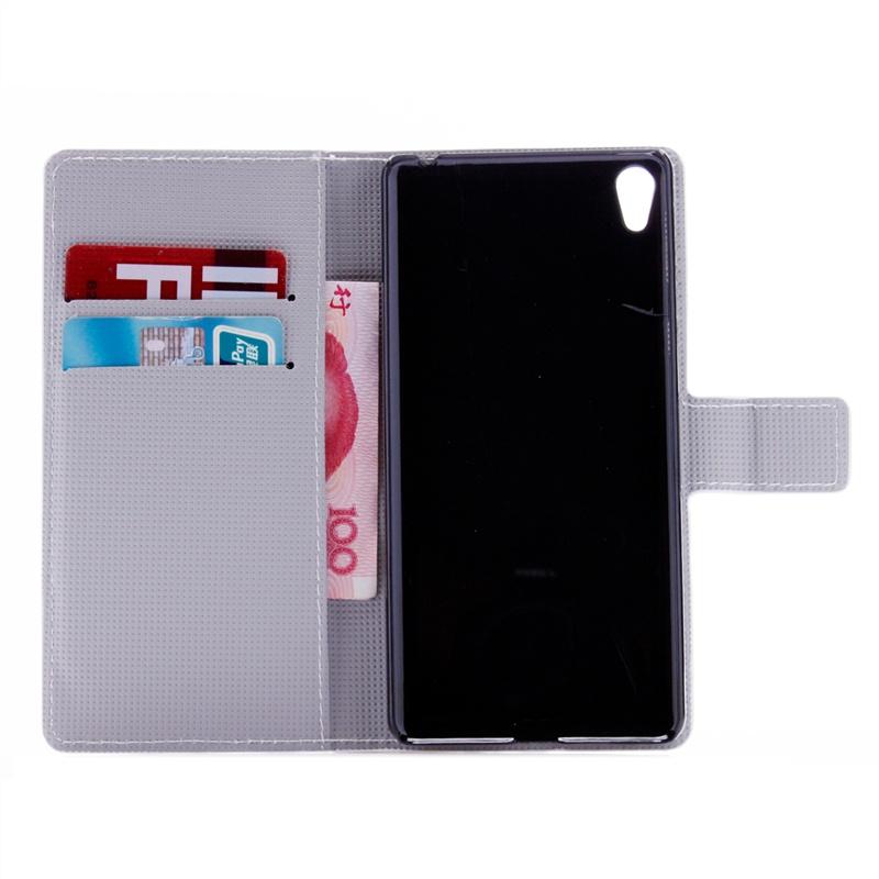 Защитный чехол из ПУ кожи со слотом для карт, подставкой и принтом совы для Sony Xperia E5