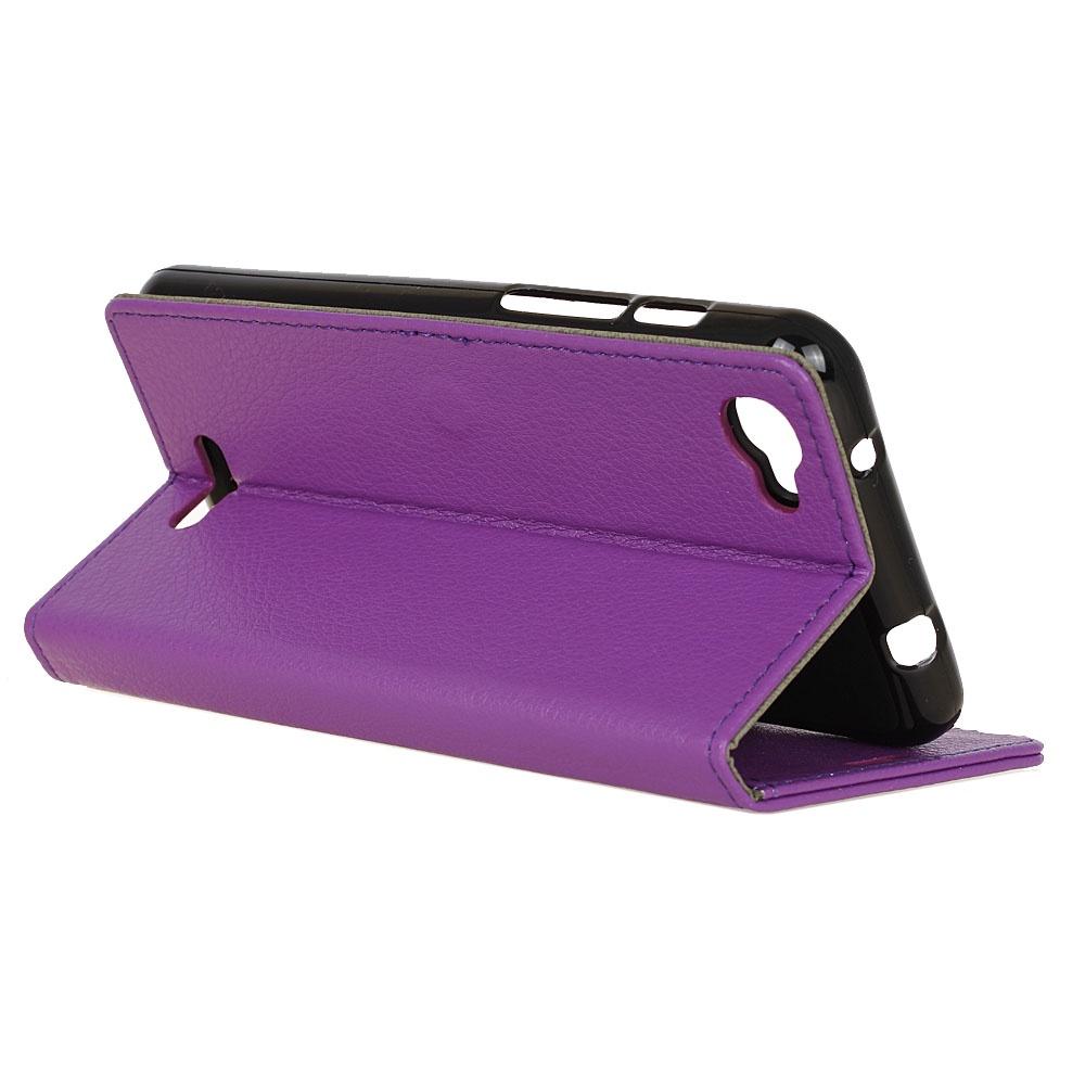Для Alcatel OneTouch Pixi 4 Plus Power Litchi Кожаный чехол из полиуретана с флип-стойкой Коврик для карточек с магнитным закрытием (фиолетовый)