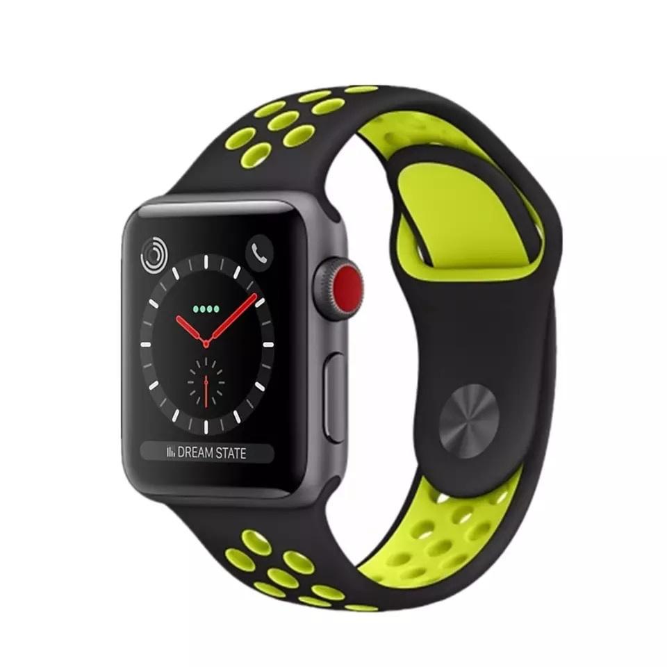 Ремешок SPORT BAND для смарт-часов Apple Watch 38/40 мм, черный с салатовым ремешок для смарт часов devia deluxe sport 3 для apple watch 4 40 мм черный