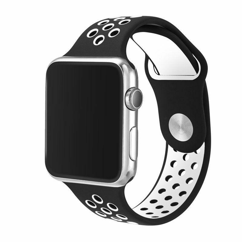 Ремешок SPORT BAND для смарт-часов Apple Watch 38/40 мм, черный с белым ремешок для смарт часов devia deluxe sport 3 для apple watch 4 40 мм черный