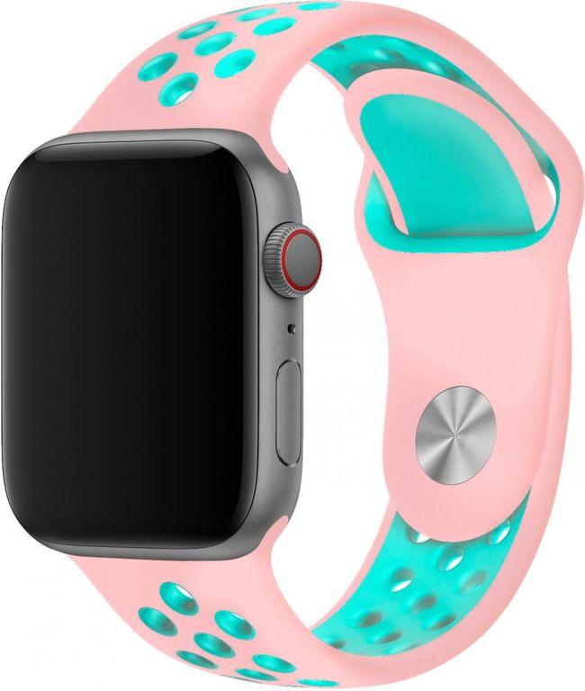 Ремешок SPORT BAND для смарт-часов Apple Watch 38/40 мм, розовый с бирюзовым ремешок dbramante1928 mode madrid для apple watch 38 мм темно розовый