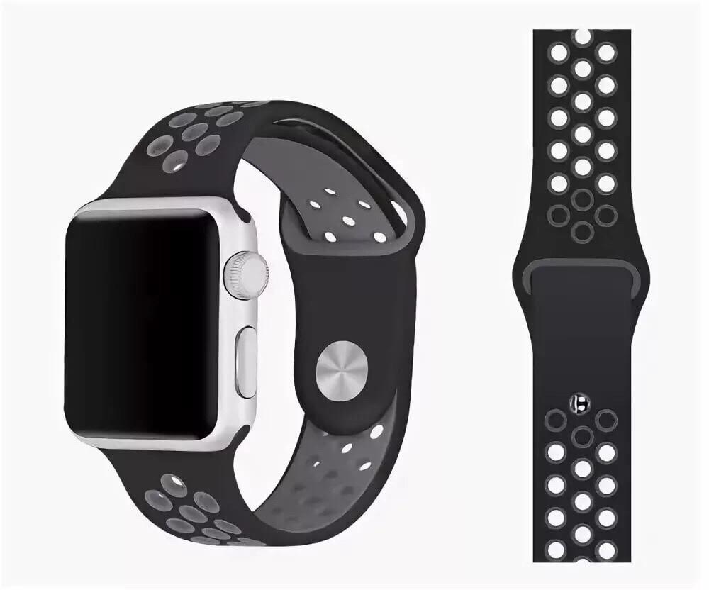 Ремешок SPORT BAND для смарт-часов Apple Watch 38/40 мм, черный с серым ремешок для смарт часов devia deluxe sport 3 для apple watch 4 40 мм черный