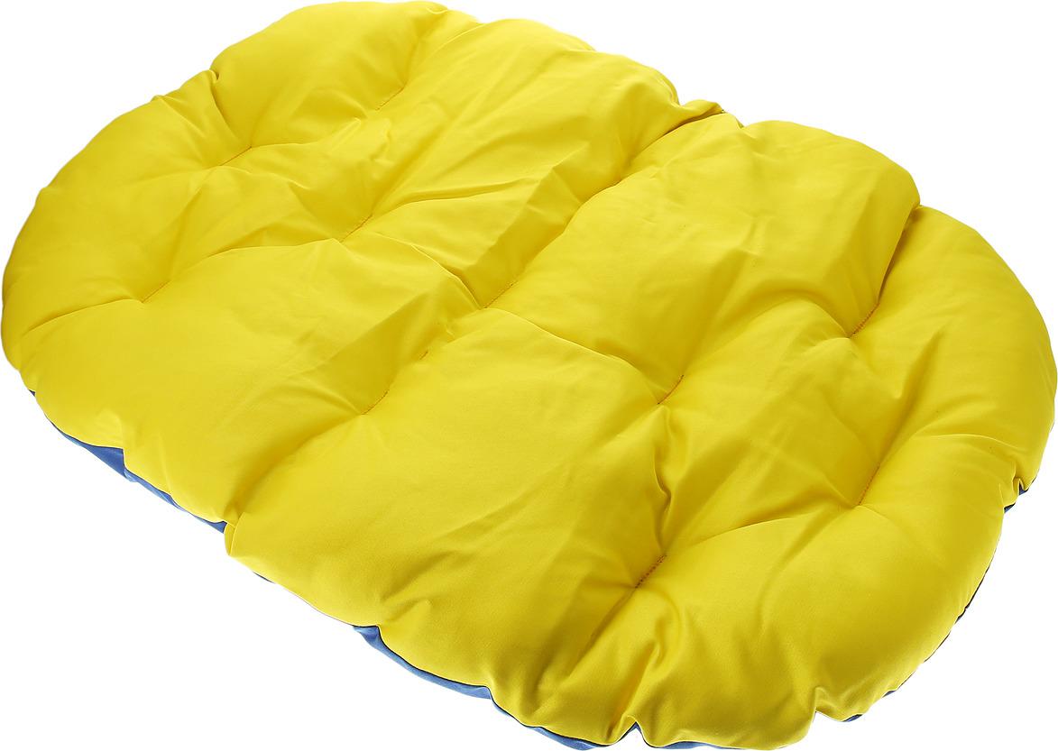 Лежак для животных ЗооМарк Перина Грета №2, ЛГ-2ЖС, желтый, синий, 60 х 46 х 8 см лежак для животных зоомарк перина грета 4 лг 4кж синий желтый 80 х 58 х 9 см