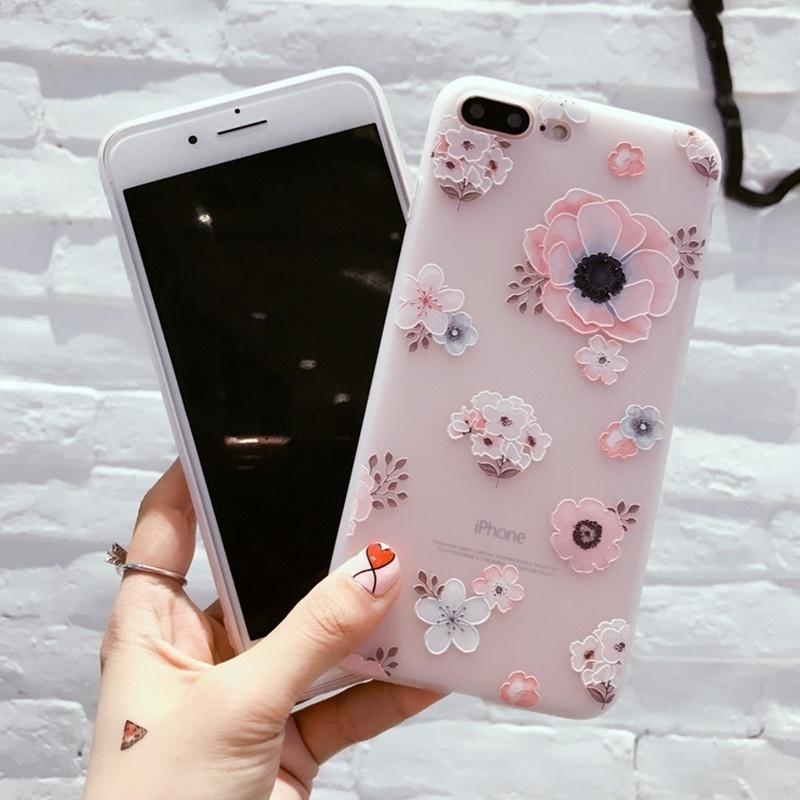 Мягкий защитный чехол задней крышки корпуса с принтом (цветы) для iPhone 7 7Plus 6 6S Plus цена