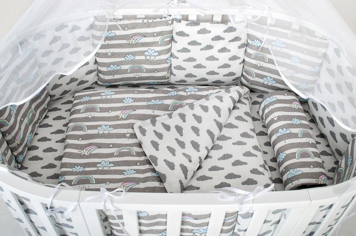 бортики в кроватку Бортик для кроватки AmaroBaby Радуга, серый, 12 шт